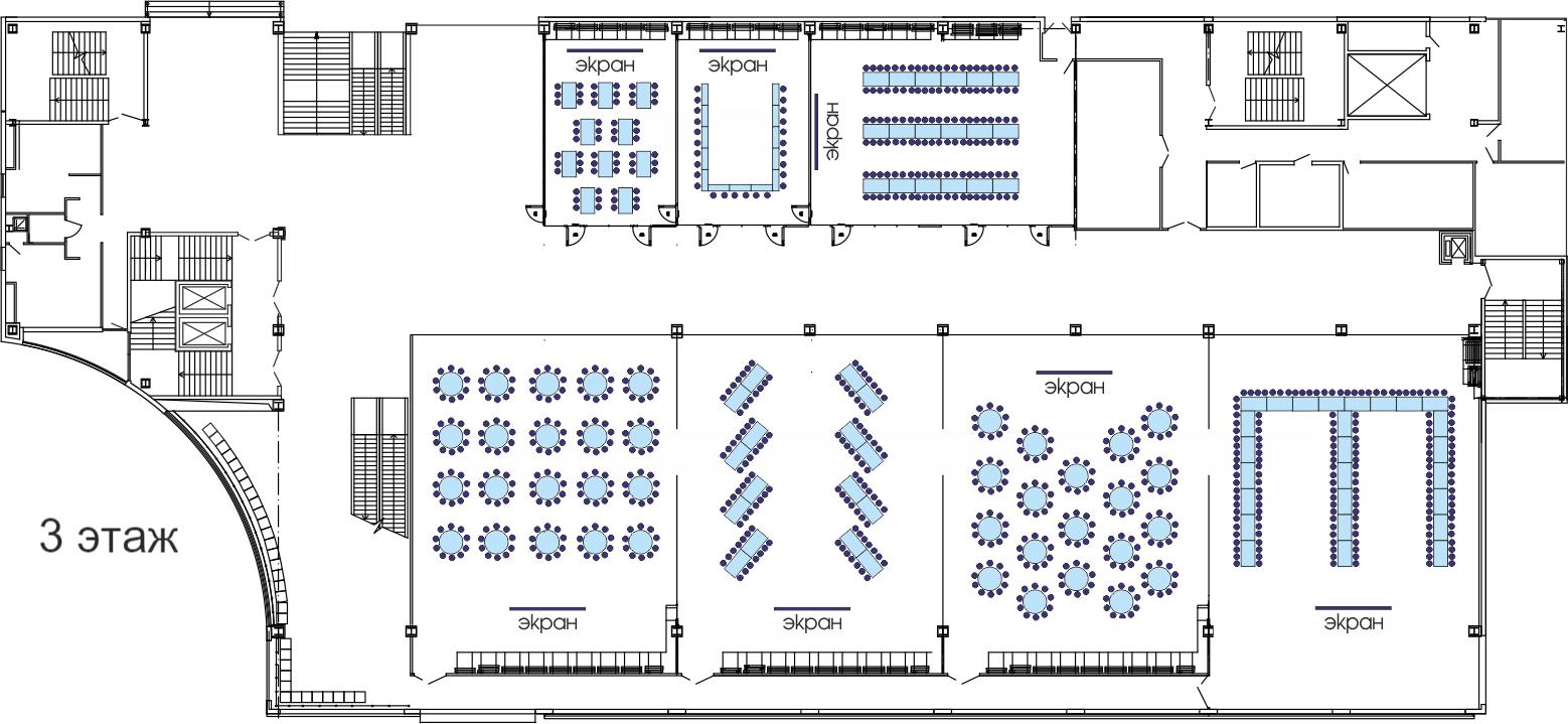 Планировка банкетного зала: 3 этаж ТМК ГРИНН в Орле