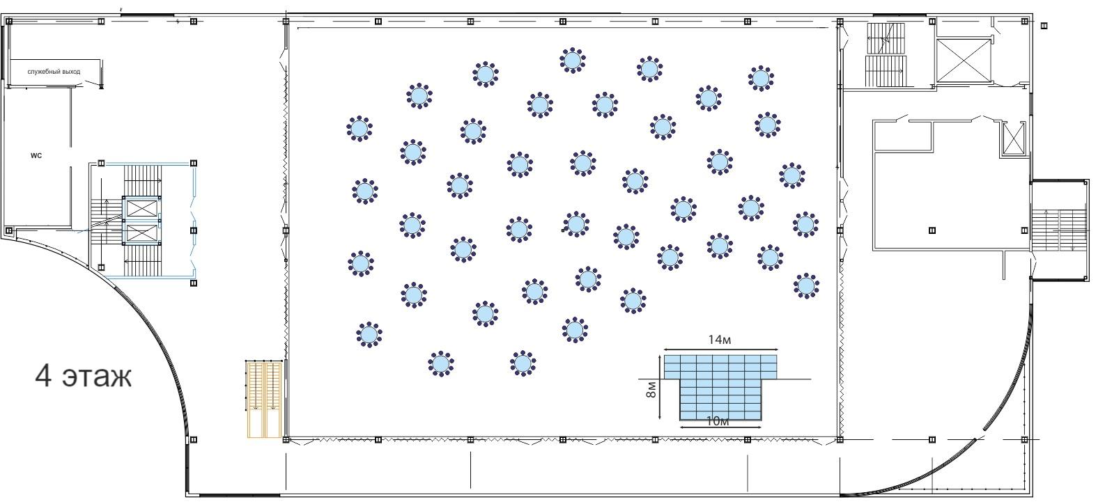 Планировка банкетного зала: 4 этаж ТМК ГРИНН в Орле